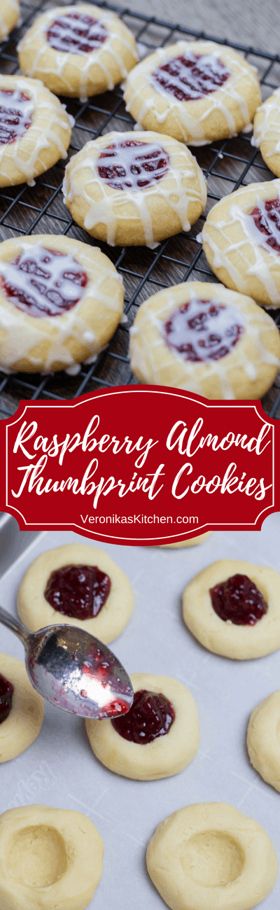 Raspberry Almond Thumbprint Cookies! They have an amazing soft and crumbly texture and the great balance of raspberry and almond flavor!