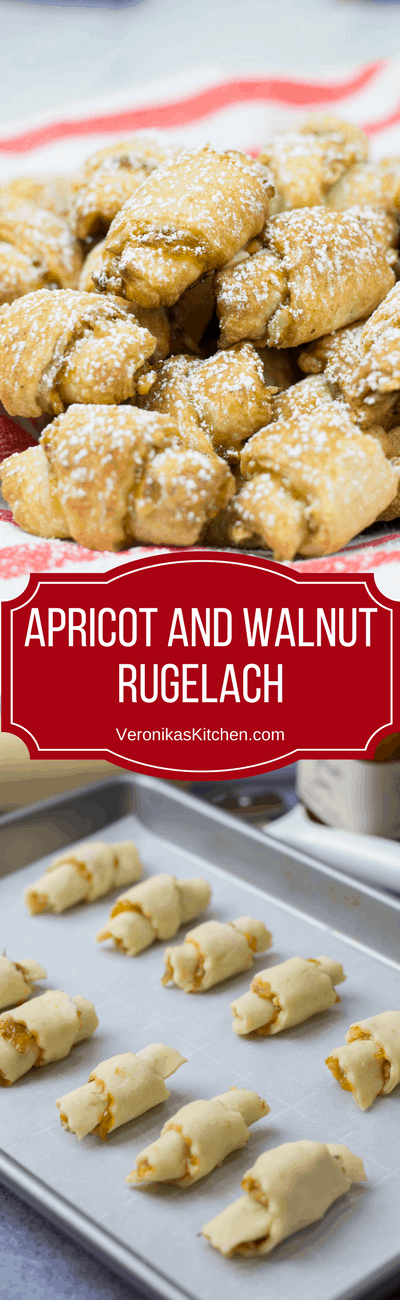 Apricot and Walnut Rugelach recipe is a perfect treat for the holiday season. These bite-size cookies are packed with apricot jam and chopped walnuts, and are very easy to make.