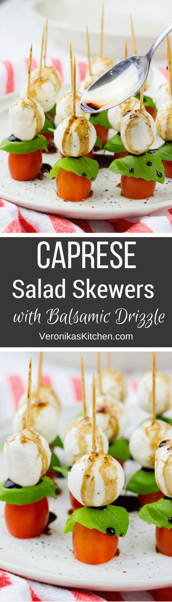 Caprese Salad Skewers with Balsamic Drizzle is a perfect healthy appetizer recipe for any holiday. This easy to make vegan, gluten free dish will be a perfect addition to your holiday repertoire.