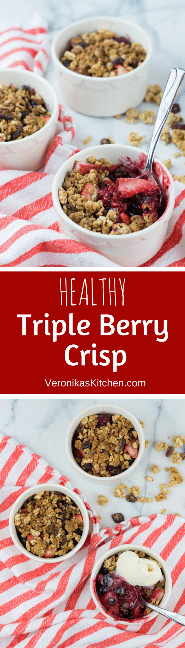 Healthy Triple Berry Crisp recipe baked in individual ramekins is a perfect treat for your friends and family. This easy to make, no-refined sugar, no-butter dessert will become your new favorite!