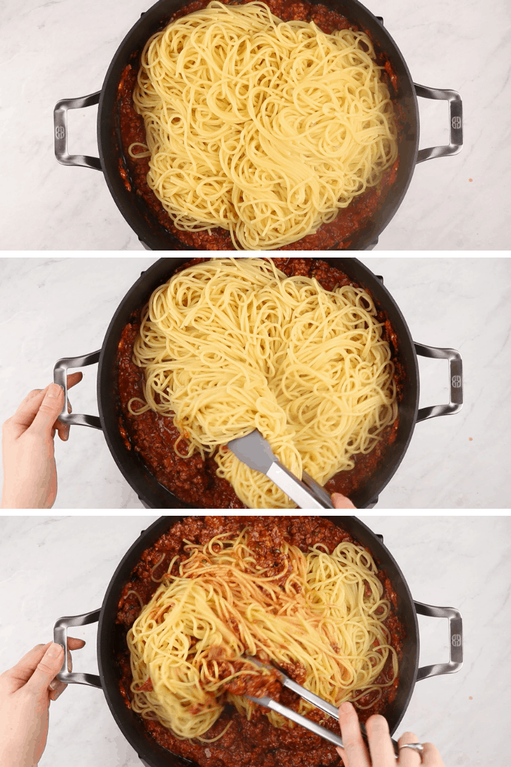 process photos of adding spaghetti to meat sauce