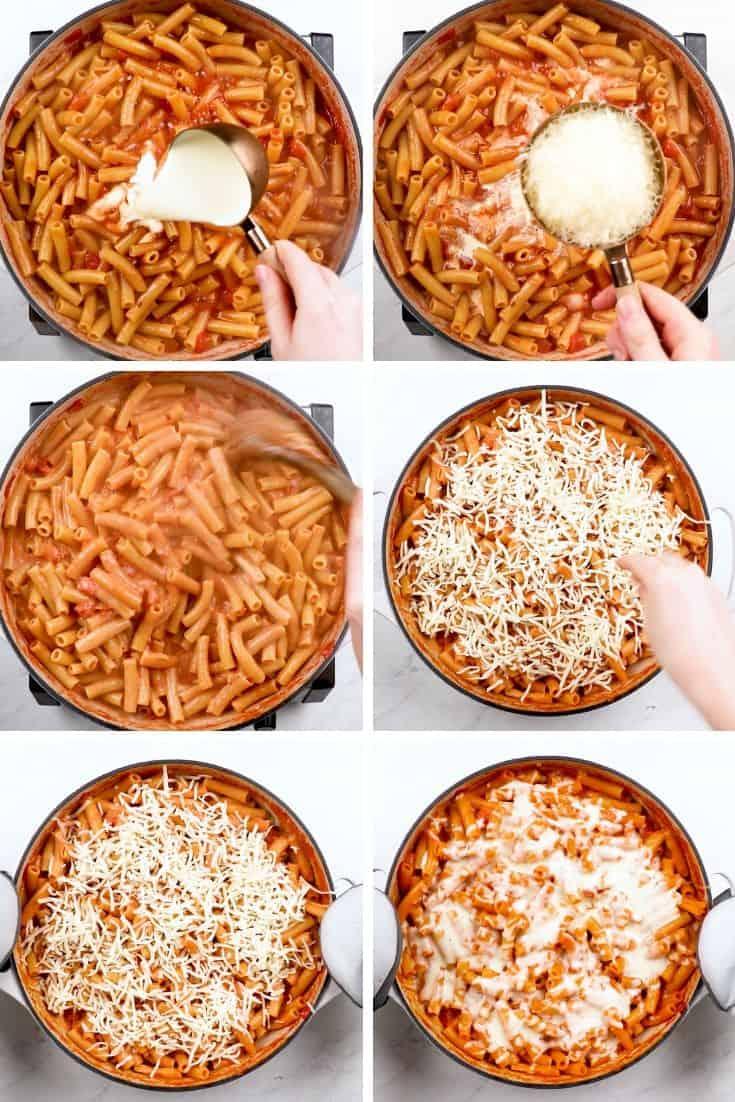 process photos of how to make Easy Cheesy Baked Ziti