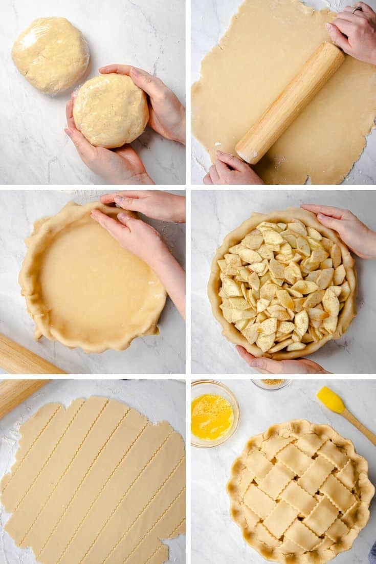 Process photos of how to make Classic Apple Pie