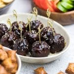 BBQ Meatballs recipe is a perfect bite-size appetizer to celebrate Football Season! Sweet and spicy mini meatballs are the best for a party!
