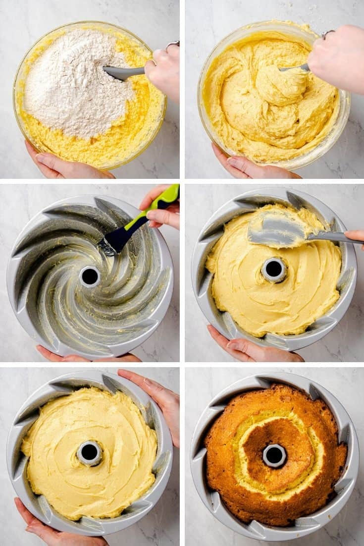 process photos of how to make an Orange Pound Cake.