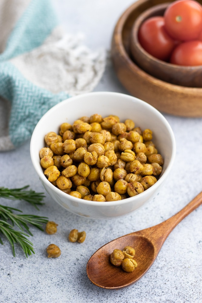 Spicy Roasted Chickpeas is a great healthy savory snack that is vegan and gluten-free.
