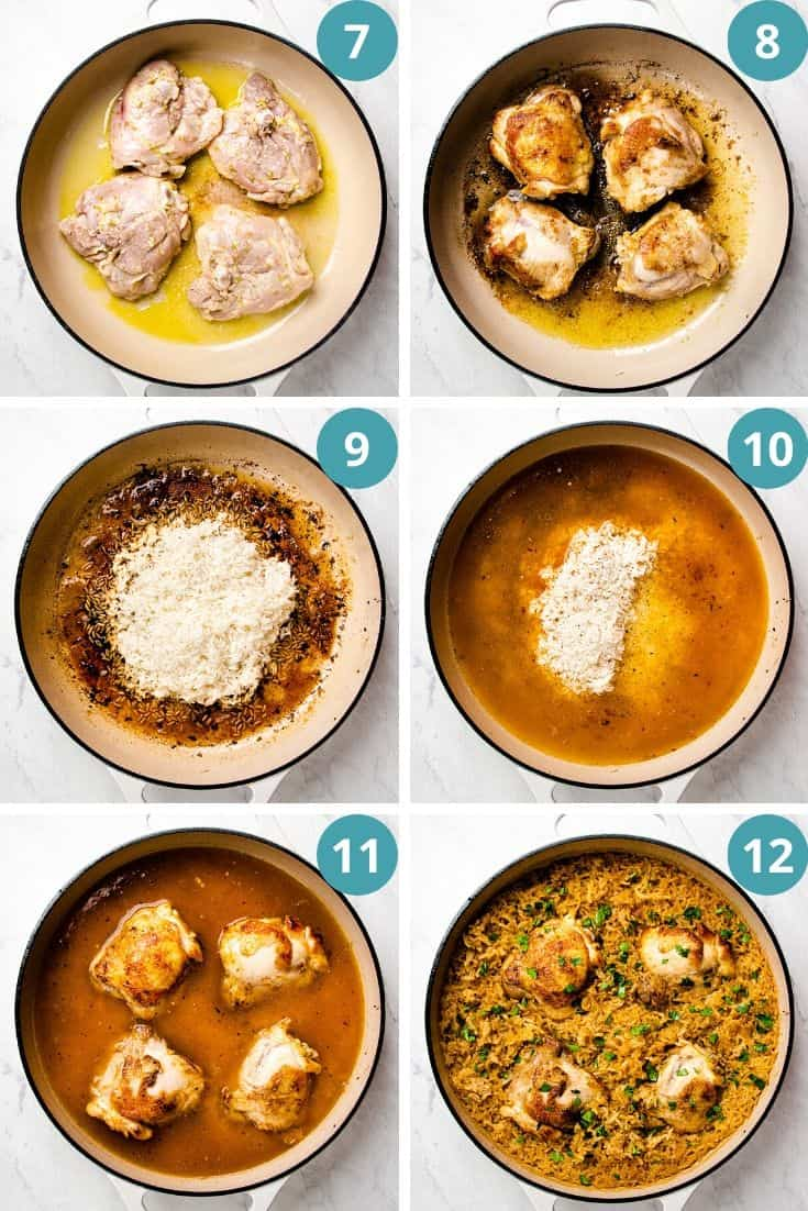 Process photos of how to make chicken and rice in one pot.