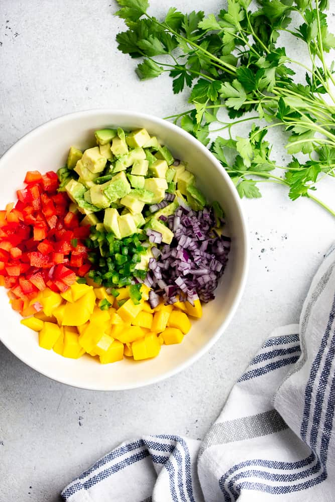 Mango Avocado Salsa Ingredients: Chopped mango, tomatoes, red onion, and avocado in a whote bowl.