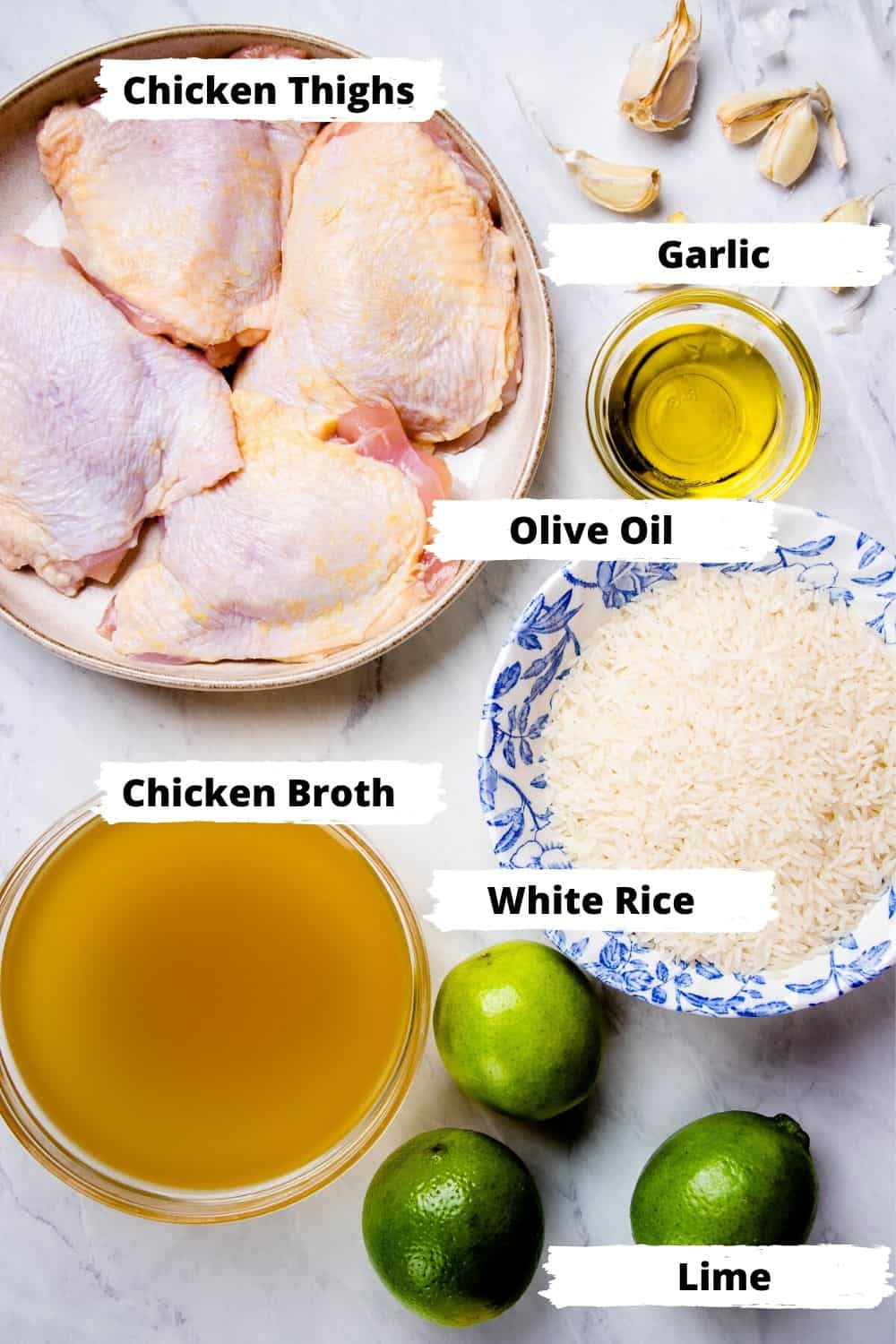Ingredients for one pot chicken and rice.
