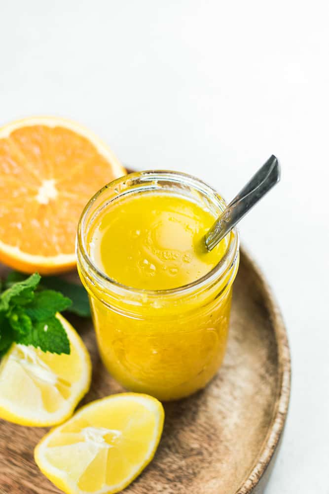 Citrus Vinaigrette in a mason jar.