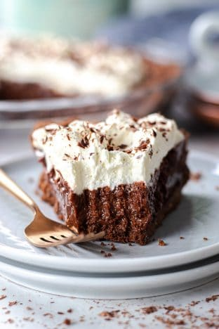 a slice of chocolate mousse pie