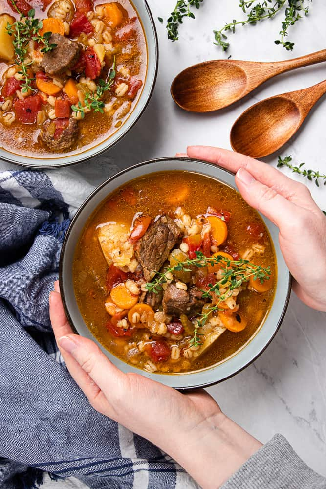 Instant Pot Barley Soup with Beef in a bowl.