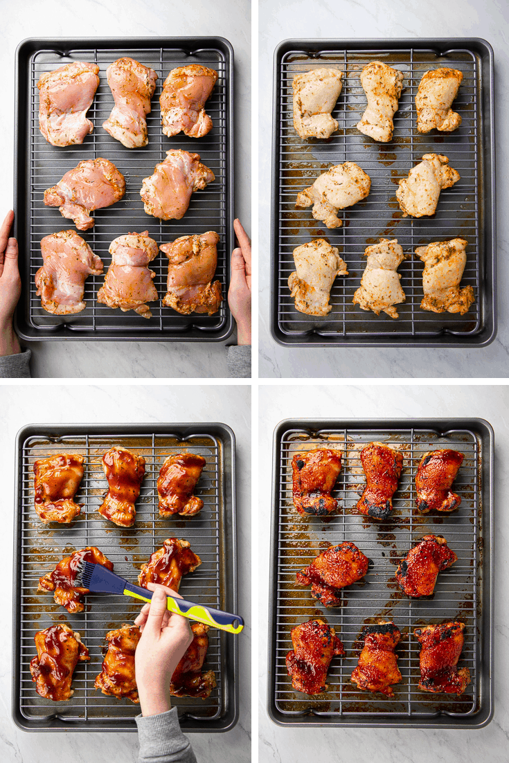 Process photo of how to make Oven Baked BBQ Chicken Thighs.