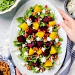 Beet Salad on an oval white plate.