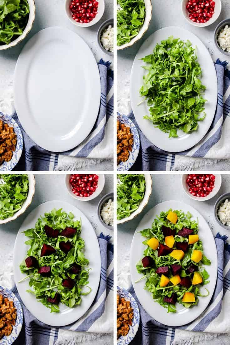 process photos of how to make Roasted Beet Salad Recipe.