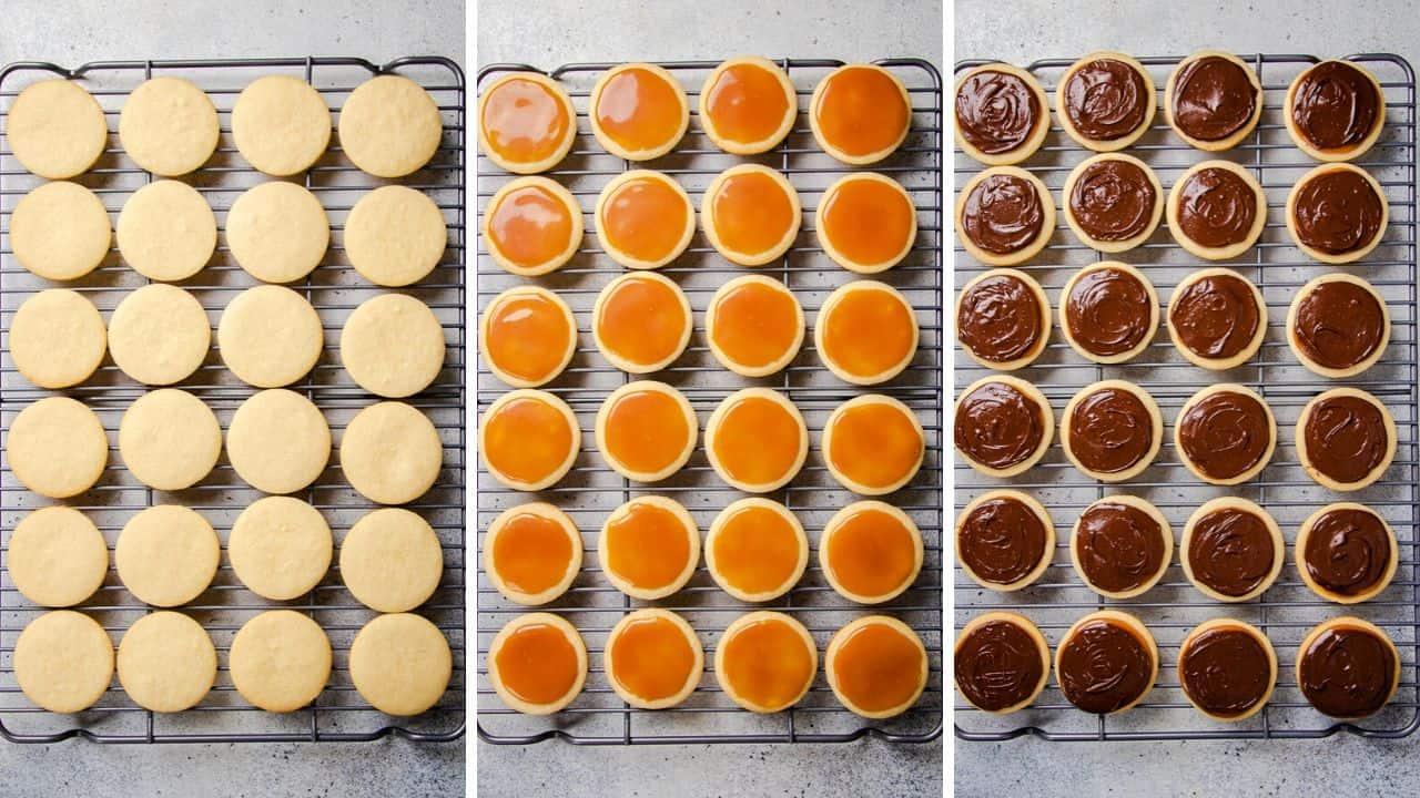 process photos of Twix Cookies