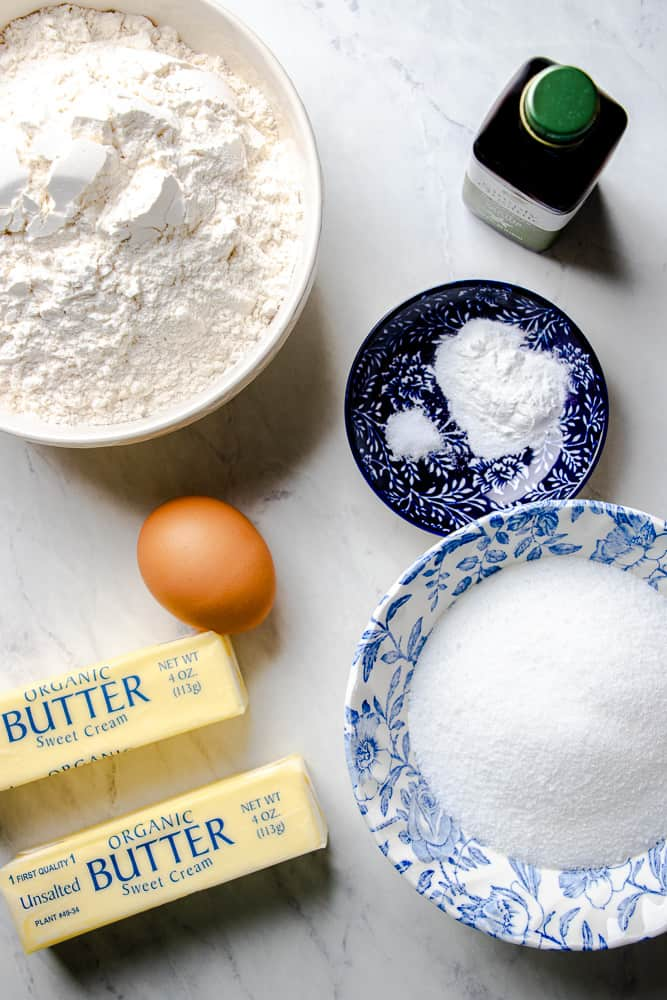 Ingredients for Cut Out Sugar Cookies .