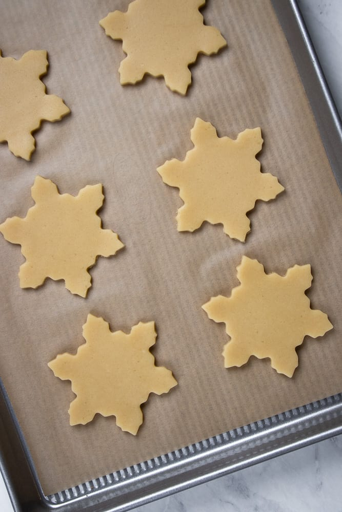 Cut Out Sugar Cookies on a baking sheet.