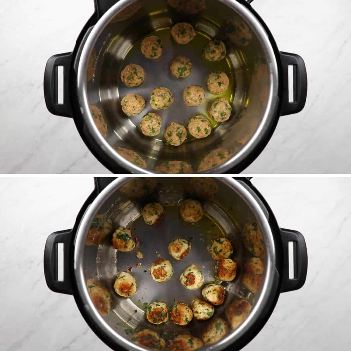 Process photos of browning meetballs in a pressure cooker.