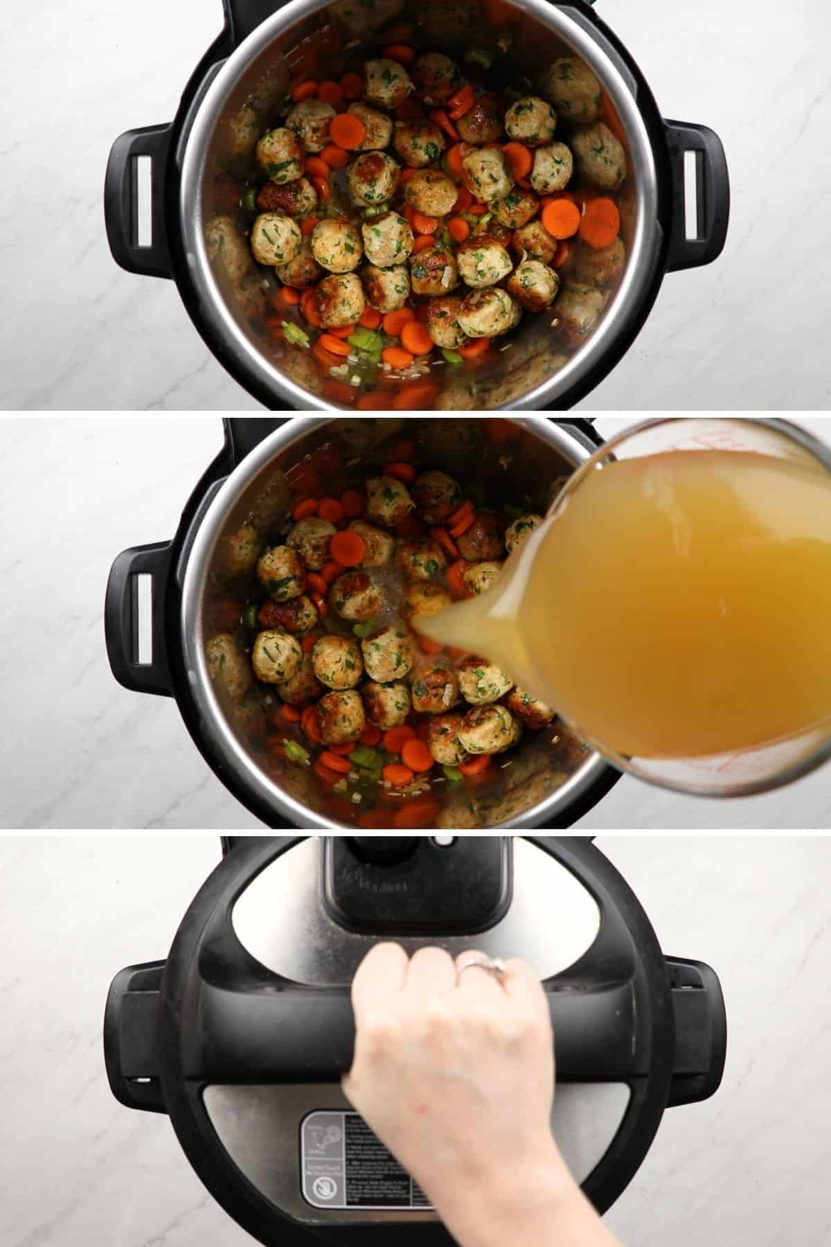Process photos of adding ingredients to a pressure cooker.