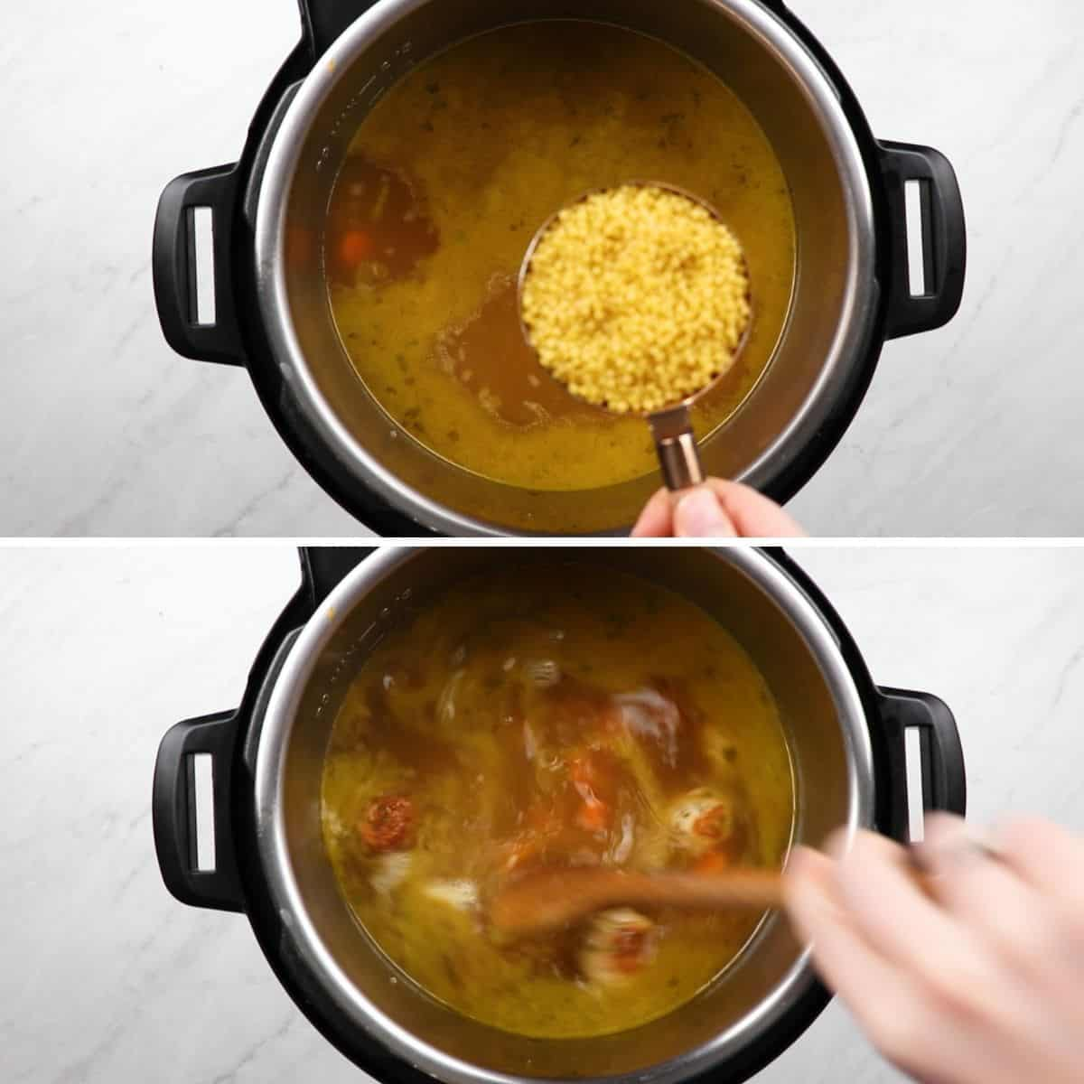 Process photos of adding accini de pepe to a pressure cooker.