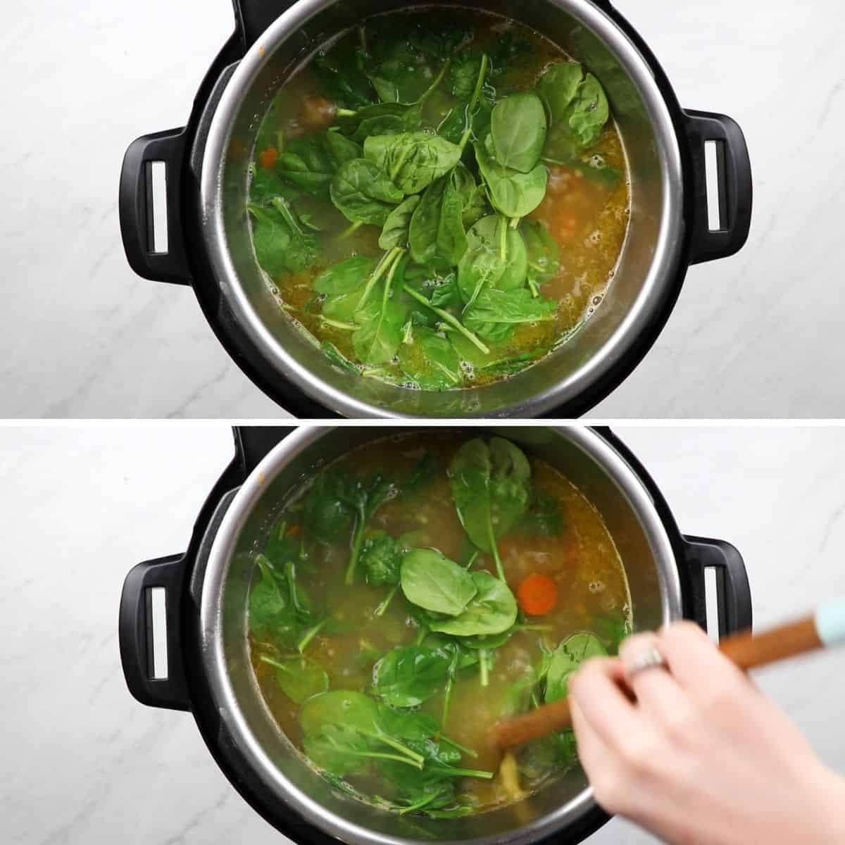 Process photos of adding spinach to soup in a pressure cooker.