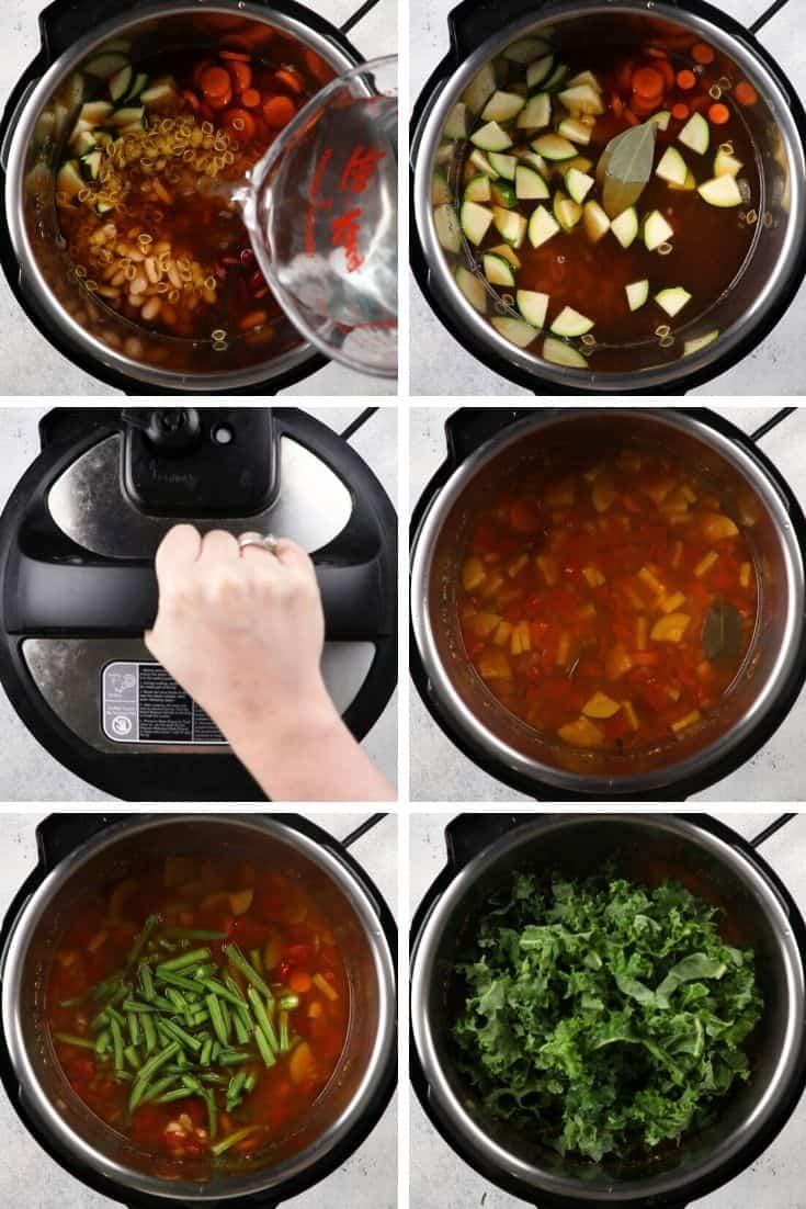 Process photos pf hoe to make Instant Pot Minestrone Soup.