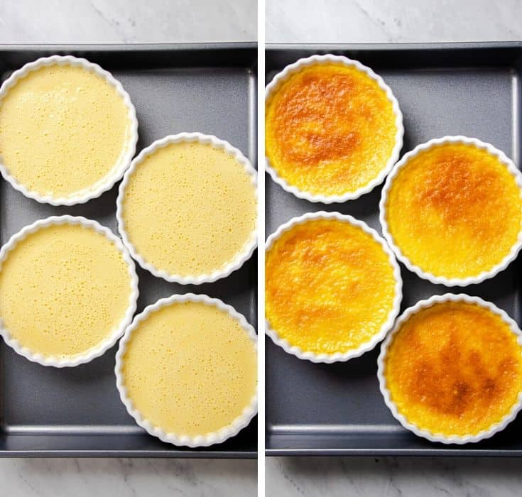 Classic Creme Brulee in white ramekins before and after baking.