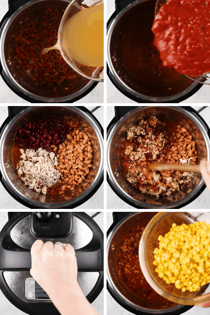 Processed photos of how to make Instant Pot Turkey Chili.