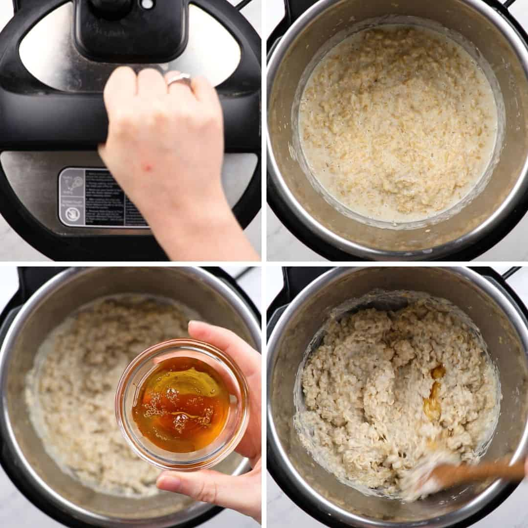 Process photos of how to make oatmeal in instant pot.