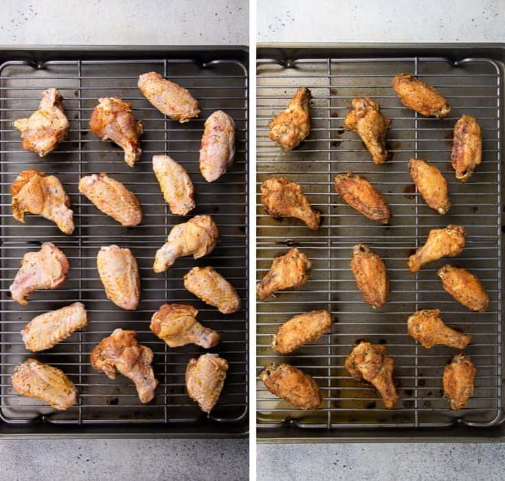 Process photo of Buffalo Wings before and after bake.