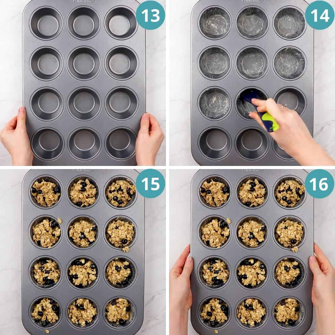Process photos of how to make Blueberry Baked Oatmeal Cups.