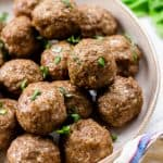 Oven Baked Meatballs on a plate.