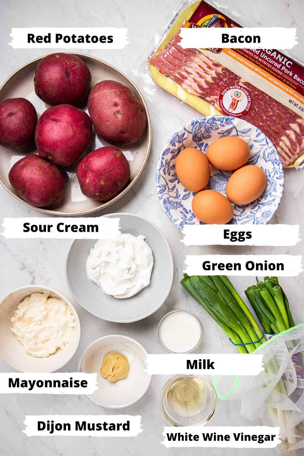 Ingredients for Potato Salad with Bacon and Egg.