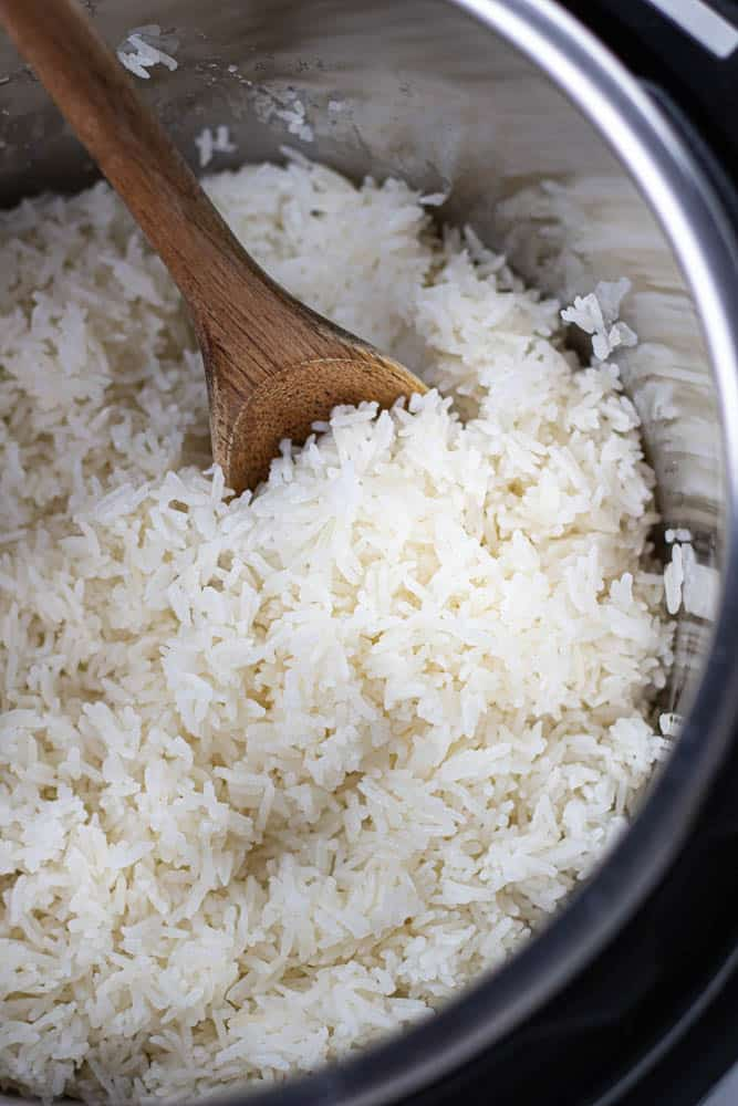 Cooked white rice in Instant Pot.