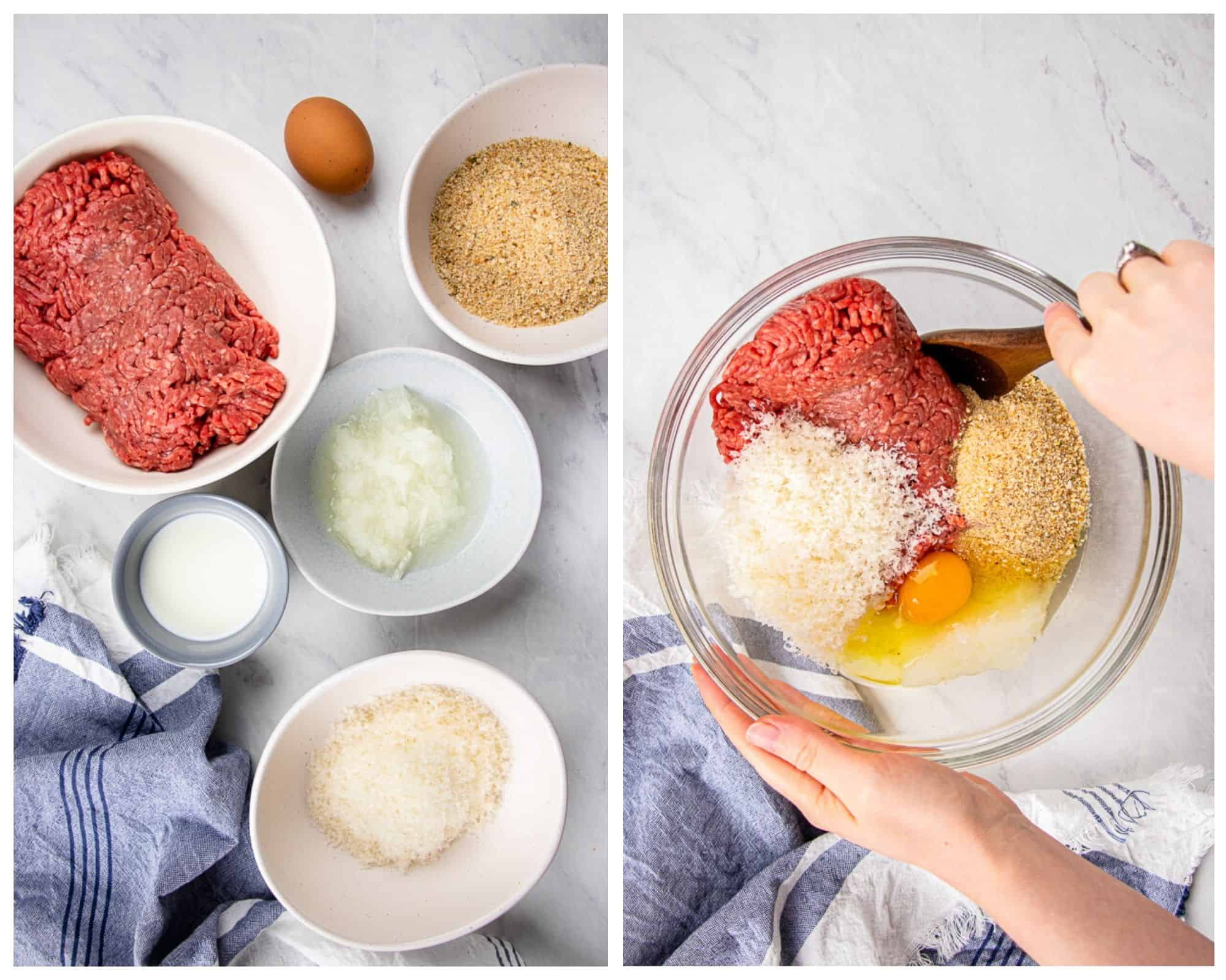 Process photos of how to make Oven Baked Meatballs.