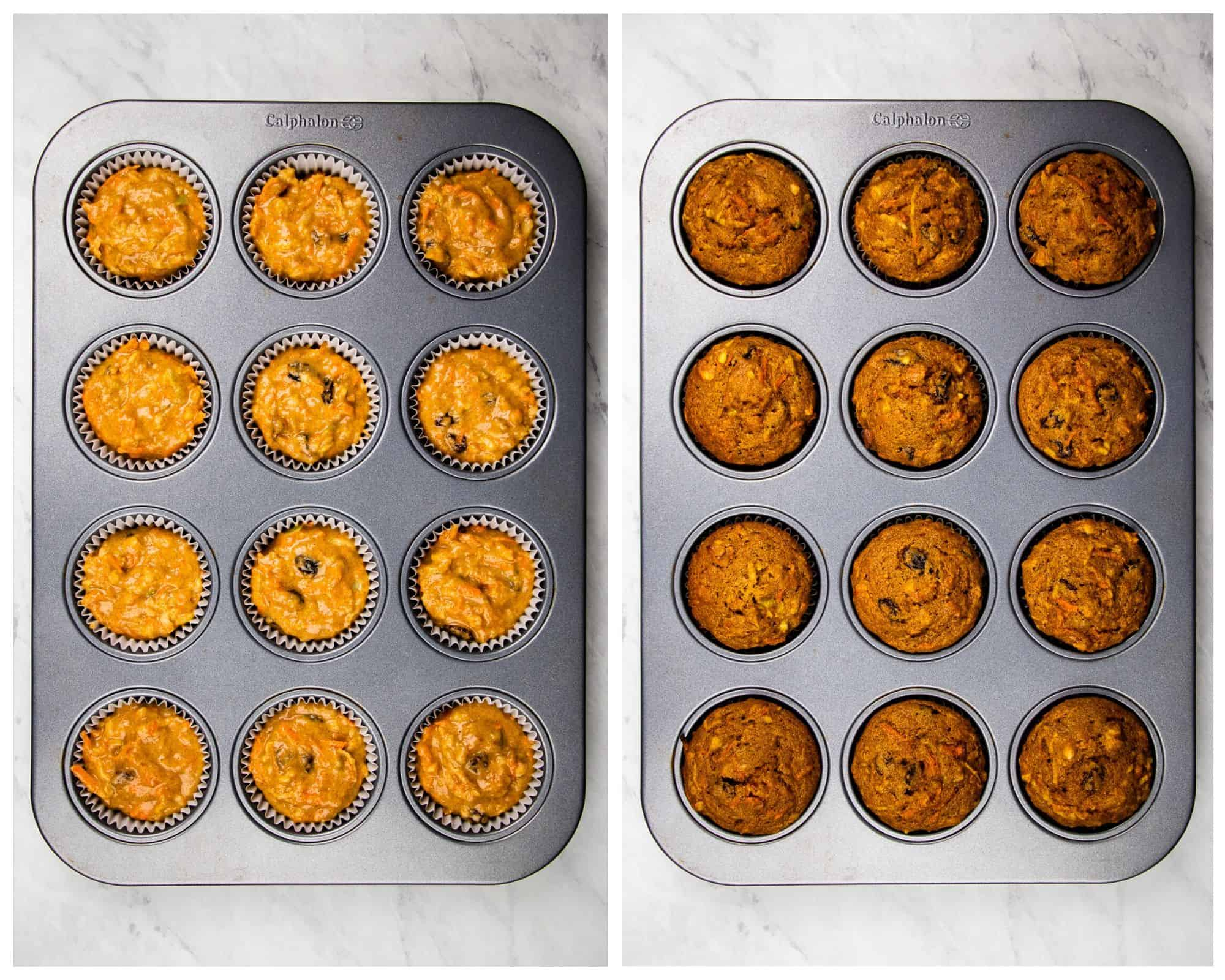 Morning Glory Muffins in a muffins pan before and after baking.