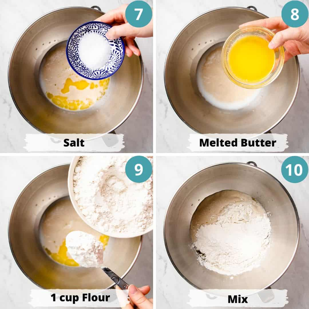 Process photos of how to make sandwich bread.