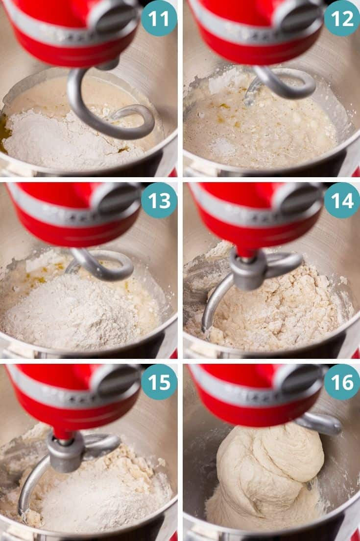 Process photos of mixing dough in a stand mixer.