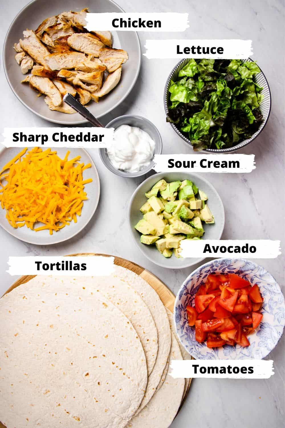 Ingredients for Chicken Avocado Wraps
