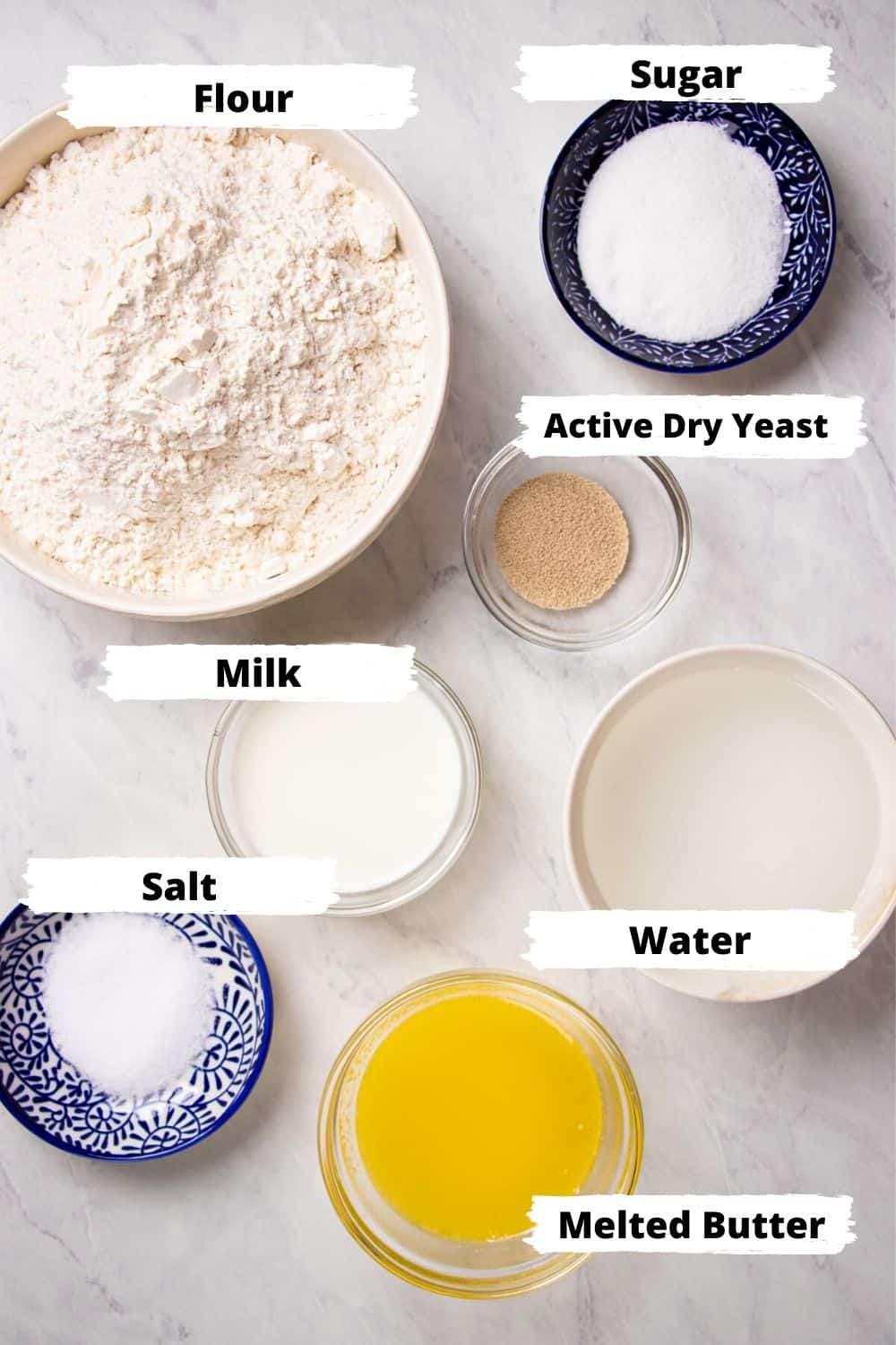 Ingredients for white sandwich bread.