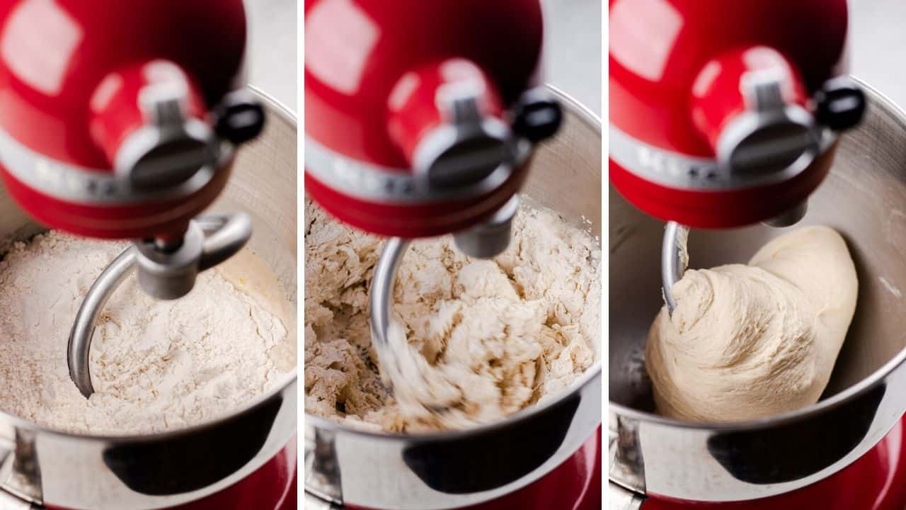 process photos of how to kead the dough in a stand mixer.