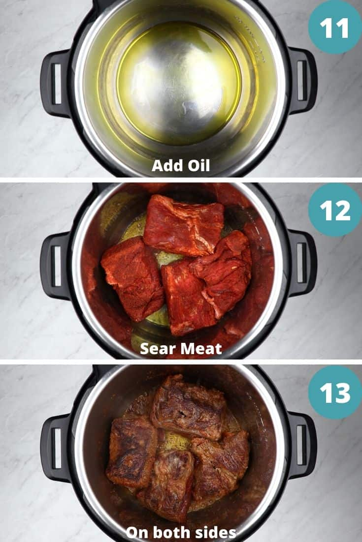 process photos of how to make pot roast in instant pot.