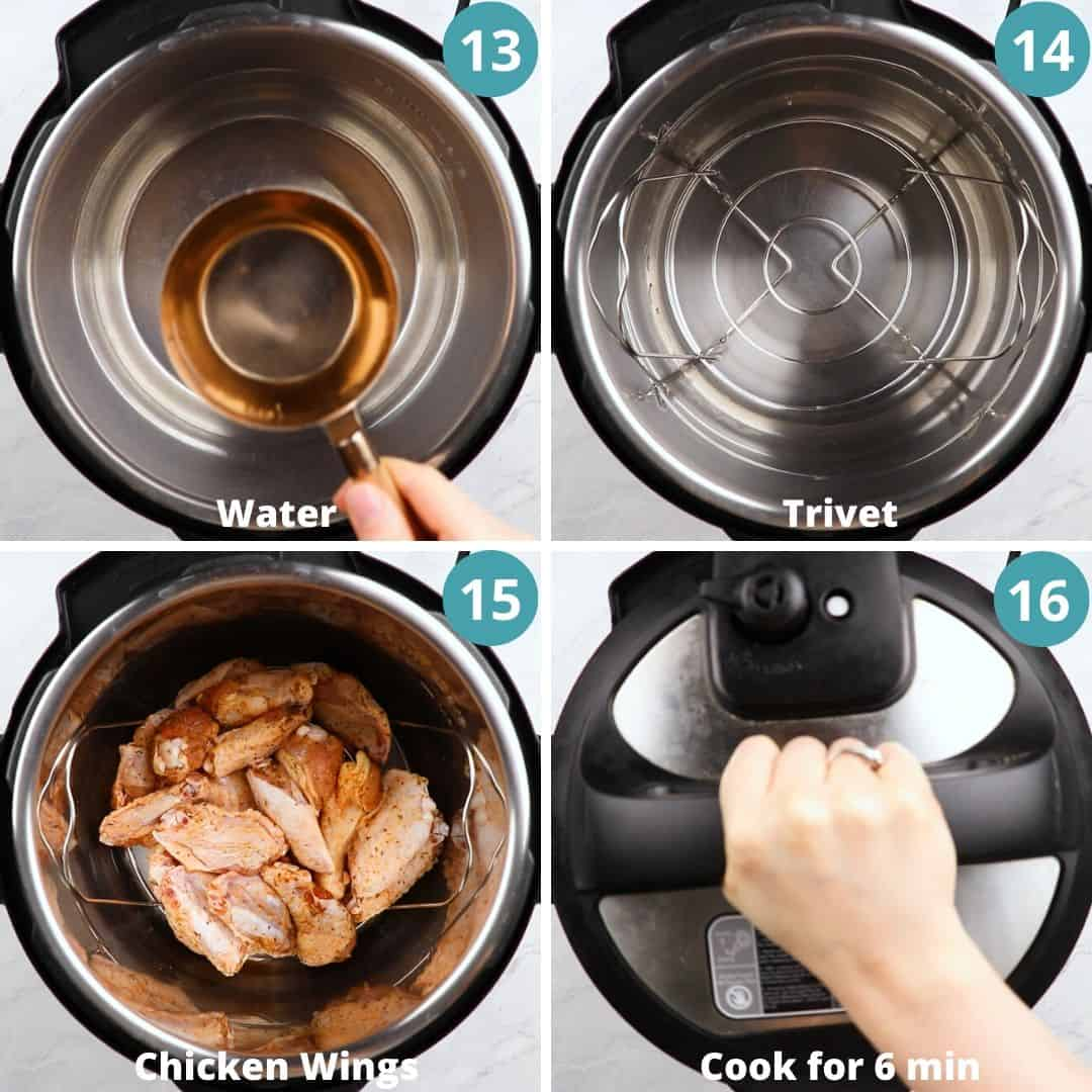 Process photos of how to make chicken wings in Instant Pot.