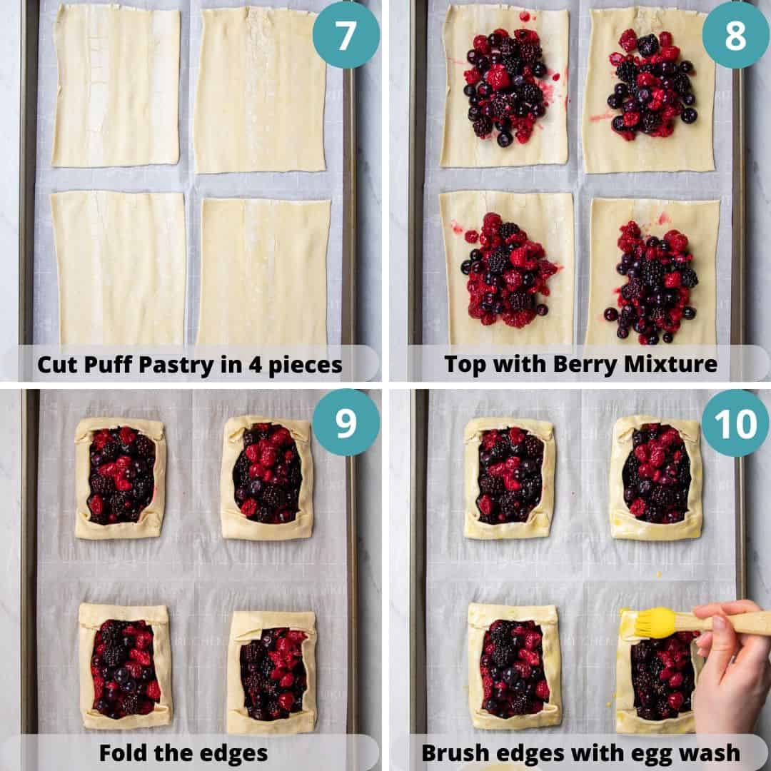 process photos of how to make puff pastry tasts with mixed berries.
