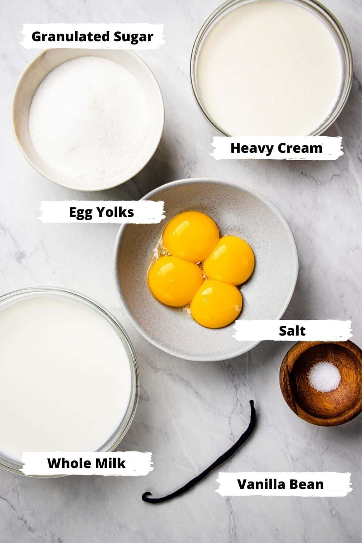 Ingredients for vanilla ice cream.