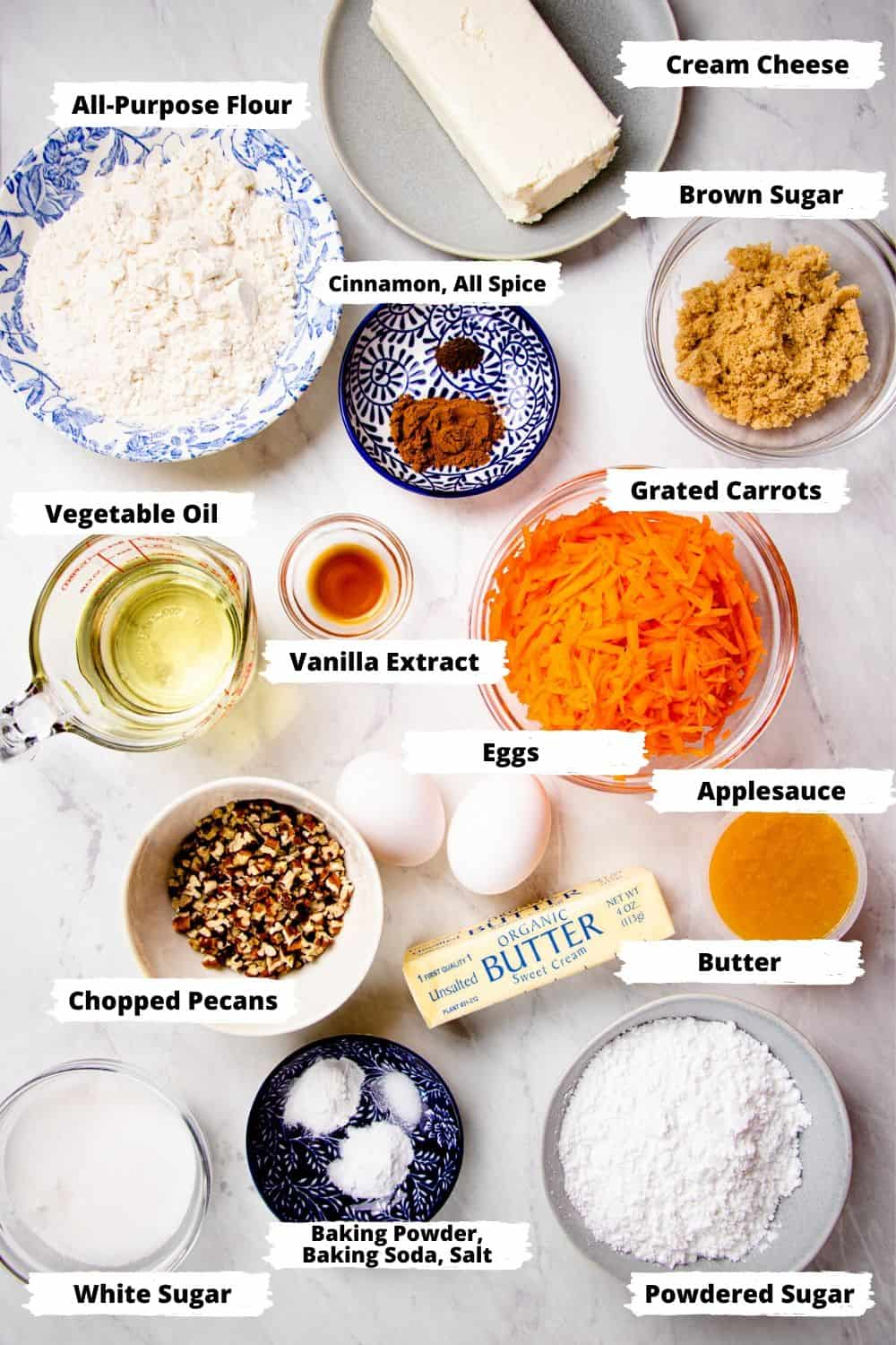 Ingredients for Carrot Cake Cupcakes.