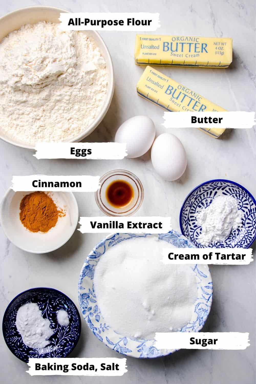 Ingredients for Snickerdoodle Cookies.