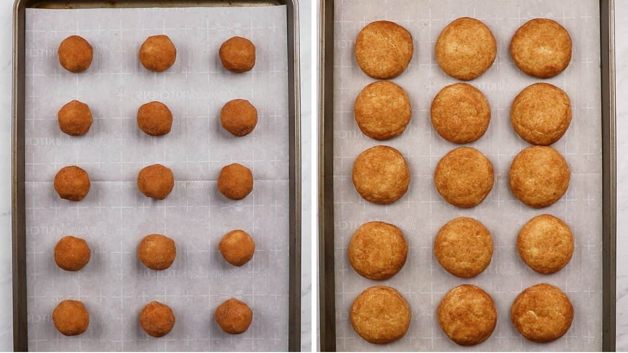 Snickerdoodle cookies on a baking sheet before and after baking.