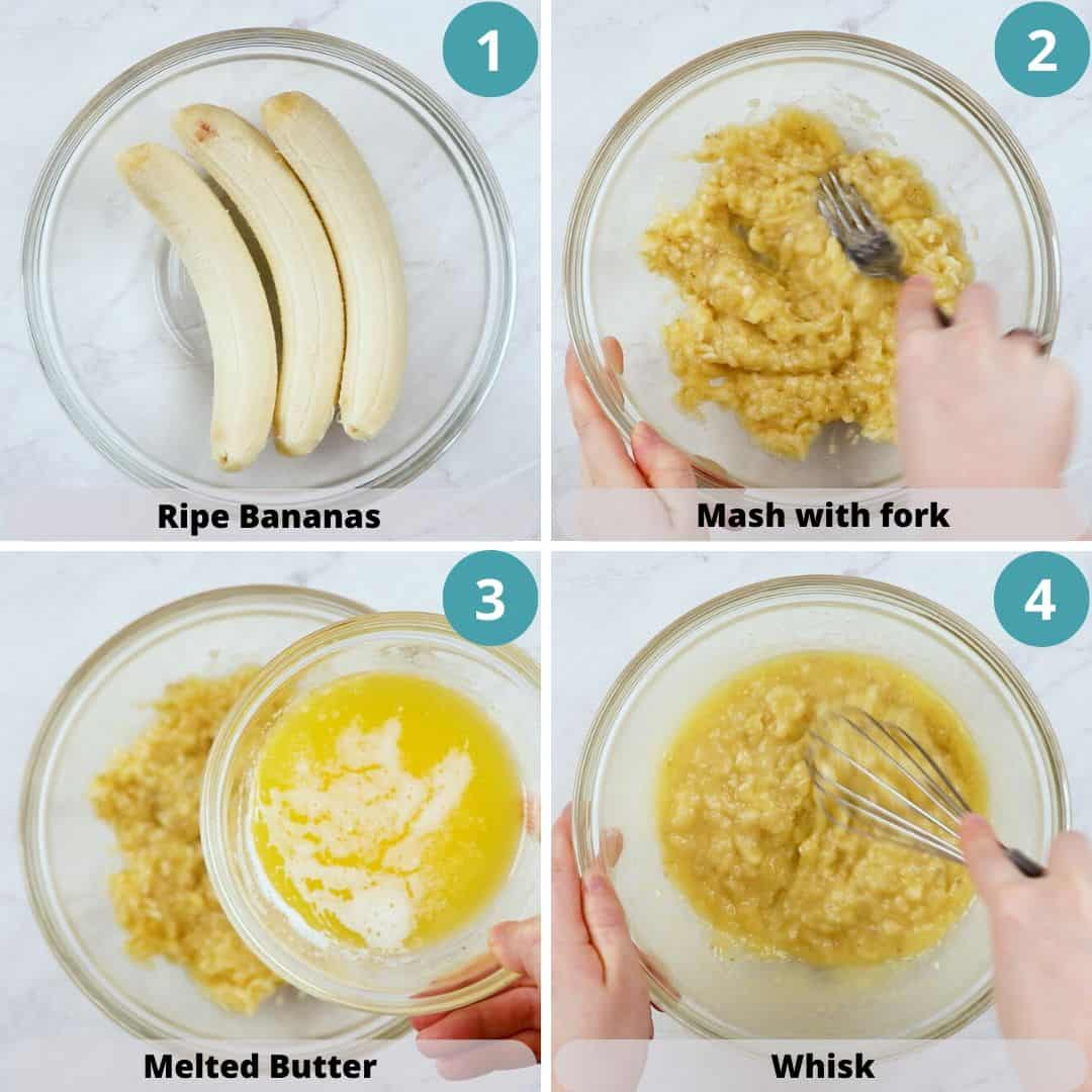 Process photos of how to make Banana Bread.